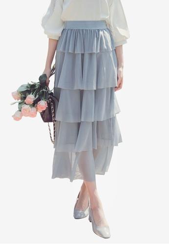 YOCO blue Pleated Layer Skirt FEA95AAFE263AEGS_1