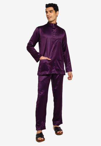 Fidelio purple Jaspar Slim Fit Baju Melayu Modern 4B62FAA5D4A73BGS_1