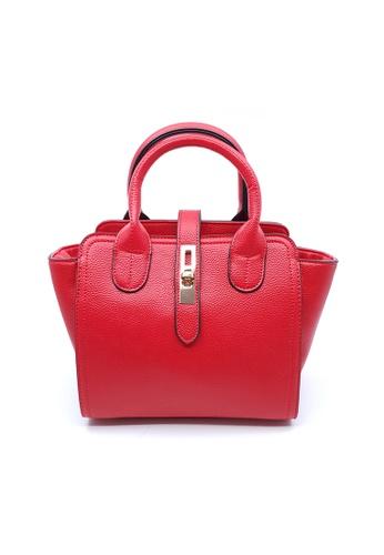 BELLE LIZ red Gorgeous Buckle Handbag Crossbody Leather Bag Red 06C64AC516A639GS_1