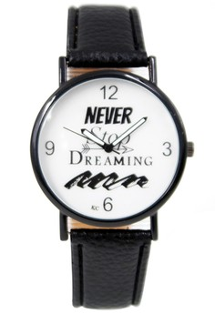 WOW Never Stop Dreaming Women's Black Leather Strap Watch