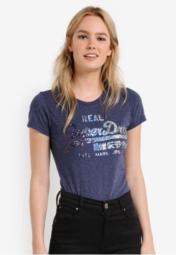 Superdry blue Vintage Logo Sequin Entry Tee SU137AA0RIMEMY_1