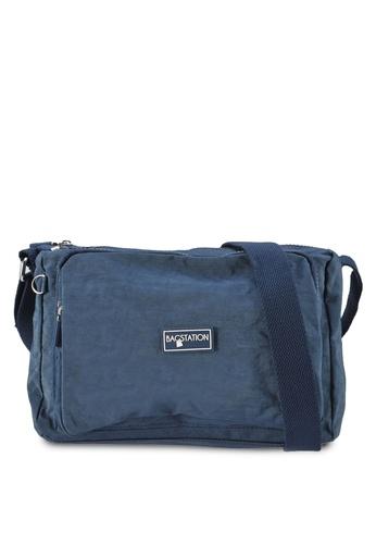 Bagstationz navy Crinkled Nylon Multi-Compartment Sling Bag 583D6ACCC9D24FGS_1
