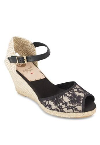 Caminia 蕾絲麻編楔形涼鞋, 女esprit taiwan鞋, 鞋