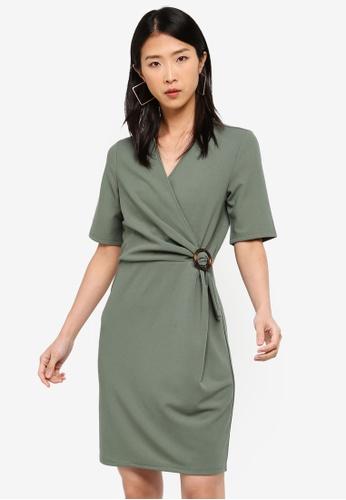 Vero Moda green Isa 2/4 Sleeve Dress C5D8FAA34931FBGS_1