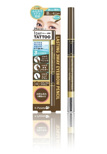 K-Palette brown 1DAY Tattoo Lasting 3Way Eyebrow Pencil in Natural Brown KP471BE58EYBPH_1