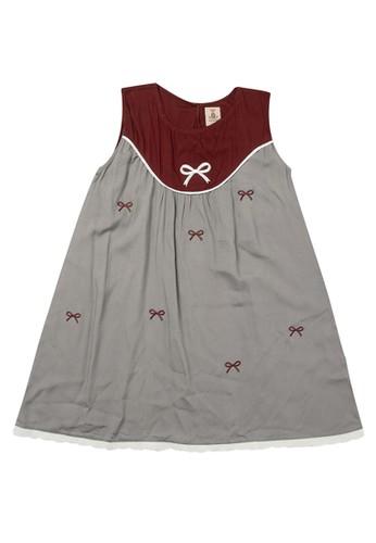 Tiny Button grey Girl Ribbon Lace Standart Dress CF1E0KA4BA96DDGS_1