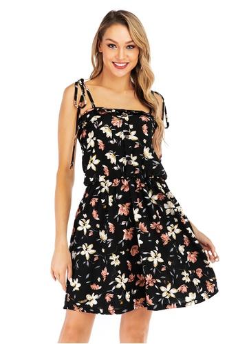Urban Outlier black Floral Printed Halter Dress D7F2CAA6CB2C14GS_1