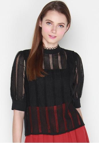 JOVET black Puff Sleeved Lace Top 3BA6FAA1E3BFB6GS_1