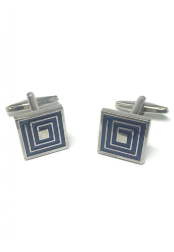 Splice Cufflinks blue Blue Maze Pattern Square Cufflinks SP744AC61FRISG_1