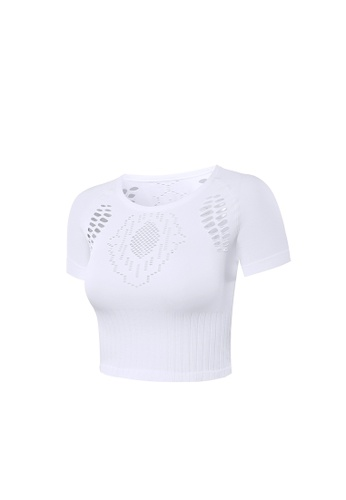 185d028a52bb07 Buy VIVIESTA SPORT Ribbed Hollow Out Crewneck Sports Crop Top | ZALORA HK