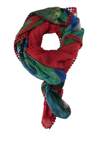 Foulard Mixto Papua Carmin 圖zalora 心得 ptt案編織圍巾, 飾品配件, 披肩