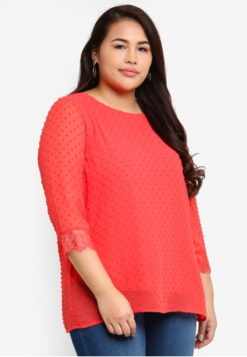 Only CARMAKOMA orange Plus Size Dream 3/4 Top 4E030AAC1537DBGS_1
