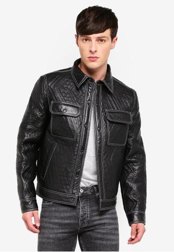 Topman 黑色 皮革外套 68271AA6185A17GS_1