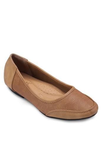esprit home 台灣壓花拼接娃娃鞋, 女鞋, 芭蕾平底鞋