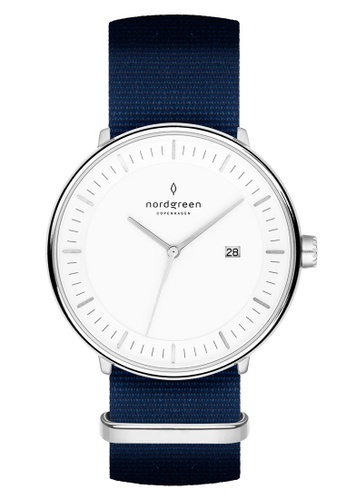 Nordgreen blue and silver Nordgreen Philosopher Silver 40 mm - Nylon Watch 5D1A1ACEFF30BFGS_1