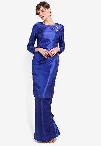 Zaimi Zulkafli for ZALORA blue Kalsom Luxe Kurung ZA761AA0STITMY_1