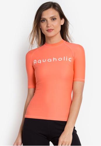 Aquaholic orange Jana Short Sleeve Raglan Rash Guard AQ609US0KBBGPH_1