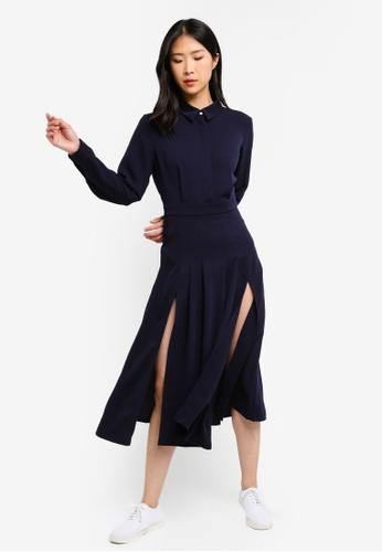 ZALORA BASICS navy Basic Longline Shirt Dress With Front Splits BB67BAAD5FD40BGS_1