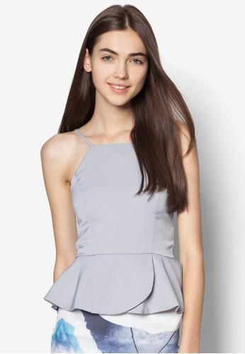 Jordan 荷葉腰飾細肩帶上衣, 服飾,zalora時尚購物網評價 服飾