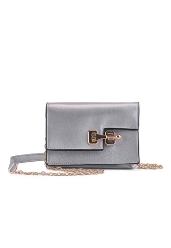 Vince silver Korean Style PU Leather Mini Shoulder Bag (Silver) FL898AC00ELVMY_1