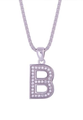buy shantal jewelry cubic zirconia silver alphabet letter b necklace online on zalora singapore