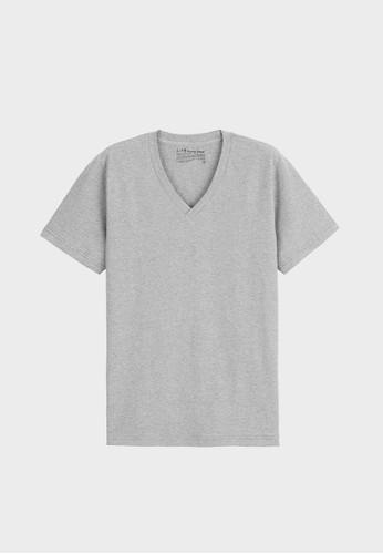 居家esprit outlet 台灣V領上衣 (有機棉)-93001-麻花灰, 服飾, 素色T恤