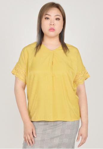 Cheetah yellow Arissa Plus Size Short Sleeve Blouse - ARS-13572 678A8AADBDE725GS_1