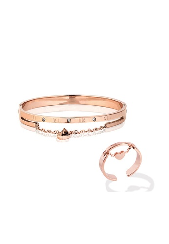 CELOVIS gold CELOVIS - Keira Heart Hinged Bangle + Ring Jewellery Set in Rose Gold E92E0ACDA61EFDGS_1