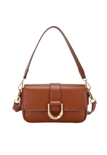 Lara brown Women's PU Leather Zipper Flap Cross-body Bag - Dark Brown F568CAC0772A1CGS_1