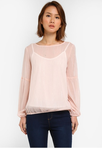 Dorothy Perkins pink Blush Lurex Balloon Sleeve Top DO816AA0SJ5JMY_1