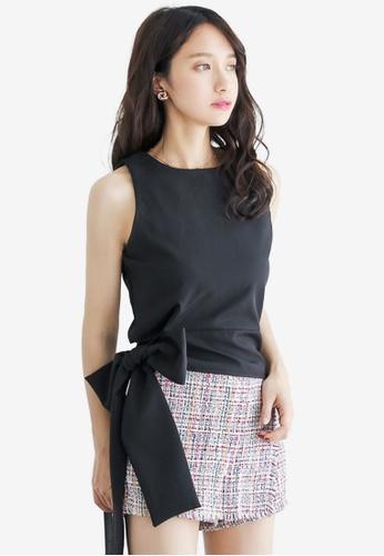 Shopsfashion black Tie A Bow Sleeveless Top 8F78FAA9655F95GS_1