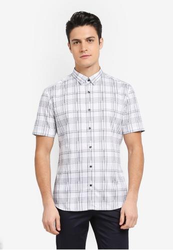 G2000 white Irregular Check Print Short Sleeve Shirt 816C1AA3B3FA2FGS_1