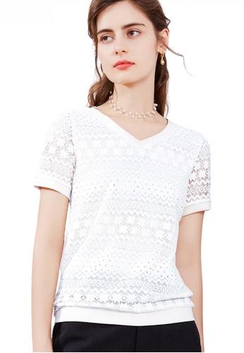 HAPPY FRIDAYS white Feminine Lace V-Neck Top JW GW-J180 2DCD6AABDC67AEGS_1