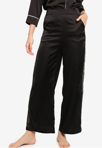 ZALORA BASICS black Lounge Lace Panel Satin Pants B83AEAAD5AB469GS_1