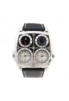 Oulm Square Oversize Multi Dial Time Zone Compass Watch - White