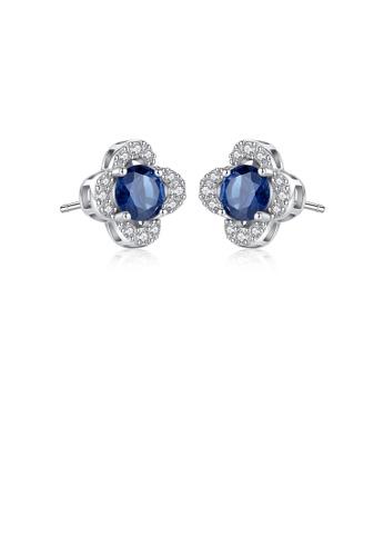 Glamorousky white 925 Sterling Silver Fashion Elegant Blue Cubic Zirconia Stud Earrings 03393AC538C62CGS_1
