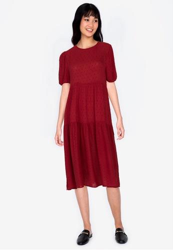 ZALORA BASICS red Puff SleeveTiered Midi Dress 30E27AAB643DB4GS_1