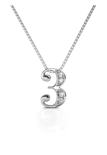Her Jewellery silver Number Pendant (3) - Made with Premium grade crystals from Austria 18A45ACA283874GS_1