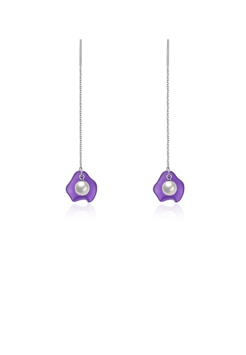 Glamorousky white 925 Sterling Silver Elegant Fashion Purple Long Shell Pearl Earrings and Ear Wire DBF1DACDCD7EA9GS_1