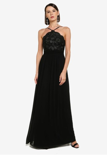Goddiva black Lace Halter Neck Chiffon Skirt Dress 24037AABA1E80EGS_1