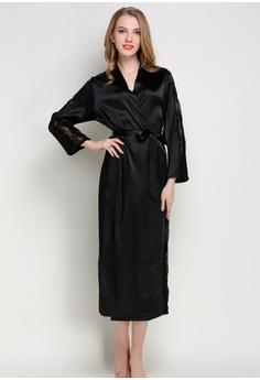 1a783ca76b SMROCCO black Silk Luxurious Women Long Robes L8005 (Black)  A40E5AAFEC39F4GS 1