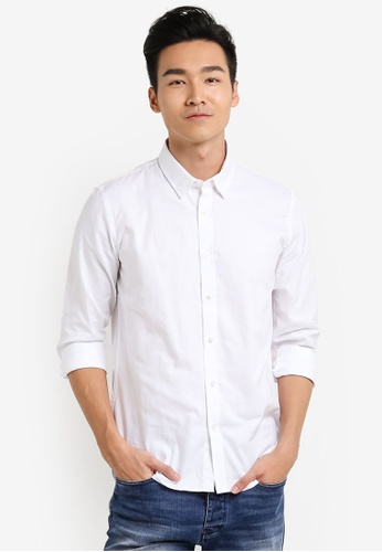 CR7 white Tailored Spec 3 Progressive Rigid Casual Shirt CR532AA64EGDMY_1
