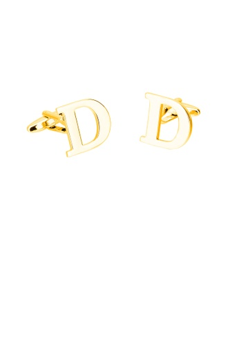Glamorousky silver Simple Personality Plated Gold English Alphabet D Cufflinks 28DF9AC27FBEC3GS_1