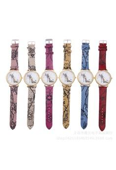 Vintage Flower Leather Quartz Wristwatch Set of 6