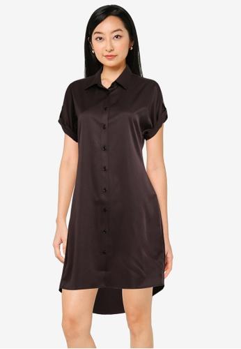 ZALORA BASICS black Short Sleeve Shirt Dress 1FC67AA2EB9043GS_1
