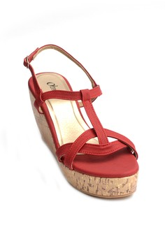 Twinky T-Strap Cork Wedge Sandals