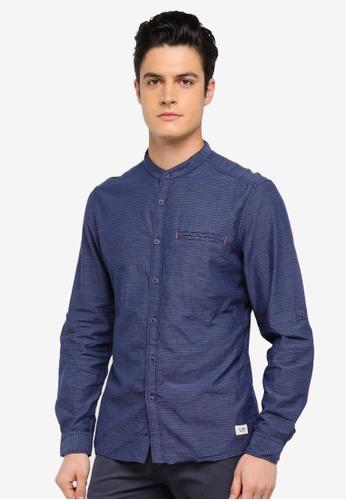 ESPRIT navy Woven Long Sleeve Shirt 137F4AA993493DGS_1