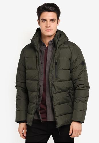 Burton Menswear London green Khaki Matrix Puffer BU964AA0T1GMMY_1
