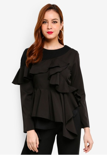 Lubna black Asymmetrical Top 1858DAA25F3E73GS_1