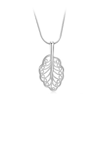 Glamorousky silver Fashion Hollow Leaf Pendant with Necklace 51CA3AC36E6250GS_1